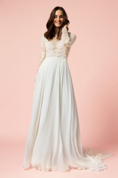sleeved wedding dresses long sleeve sheath wedding dress by bliss by monique lhuillier - image 1 ... LPIVAOQ