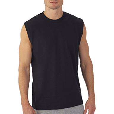 sleeveless shirts hanes menu0027s sport styling cotton sleeveless t-shirts w/ cool dri 4-pack VSPHMUQ