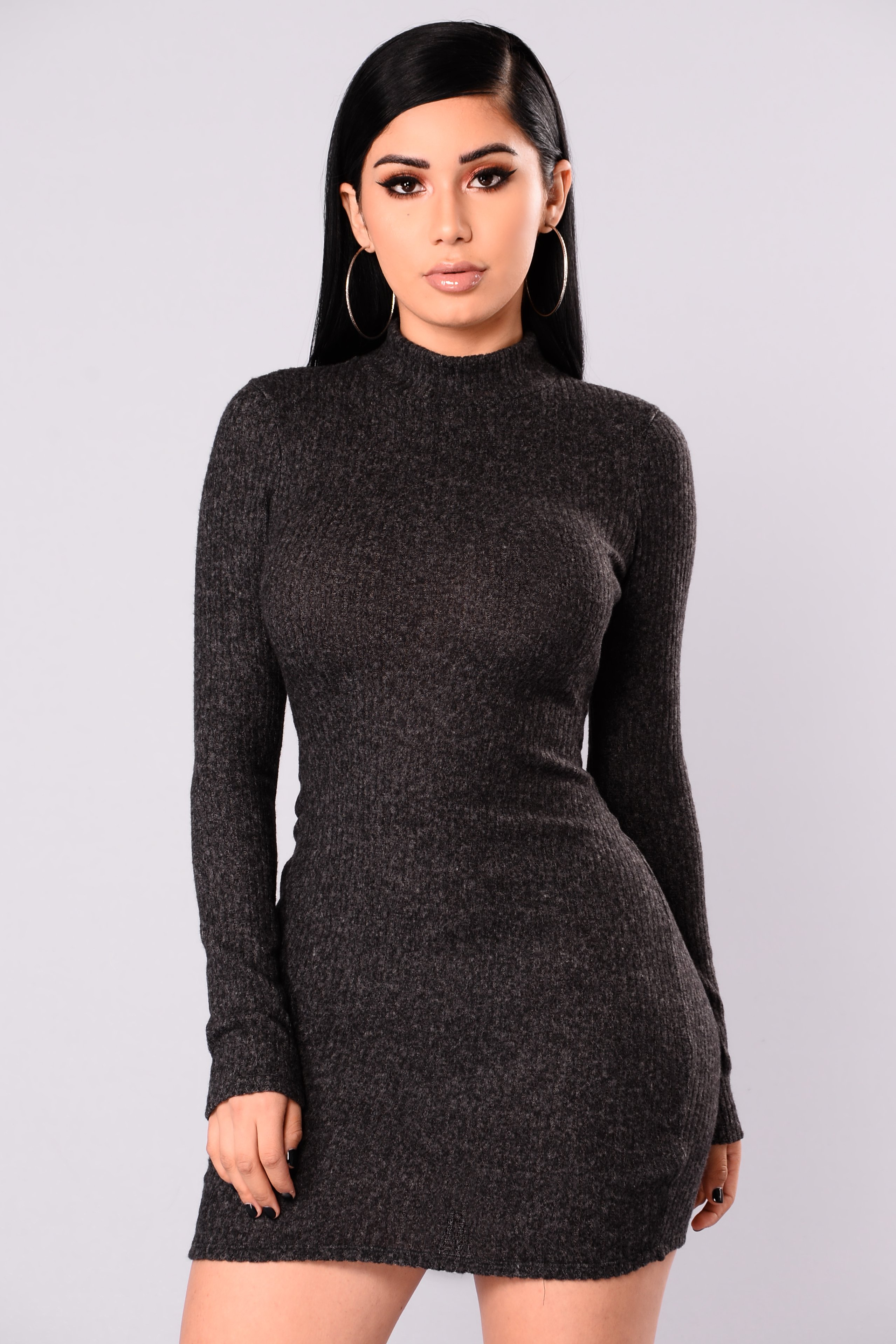soft side sweater dress - charcoal KEWEYJX