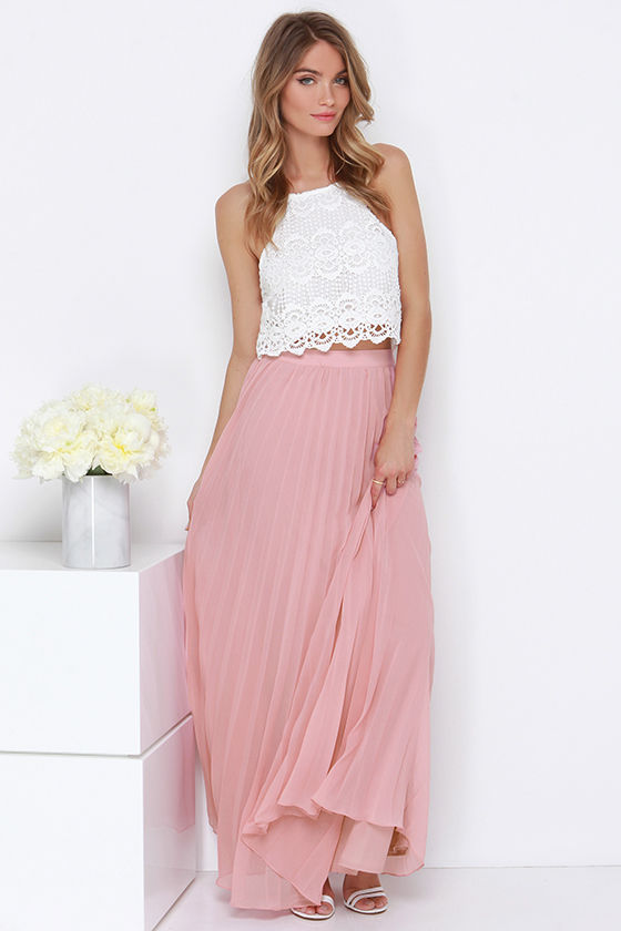soothe sailing blush pleated maxi skirt ZXGMEJM