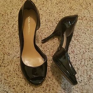 Spiga shoes ma spiga shoes - italian black patent peep toe heels AYBFENW