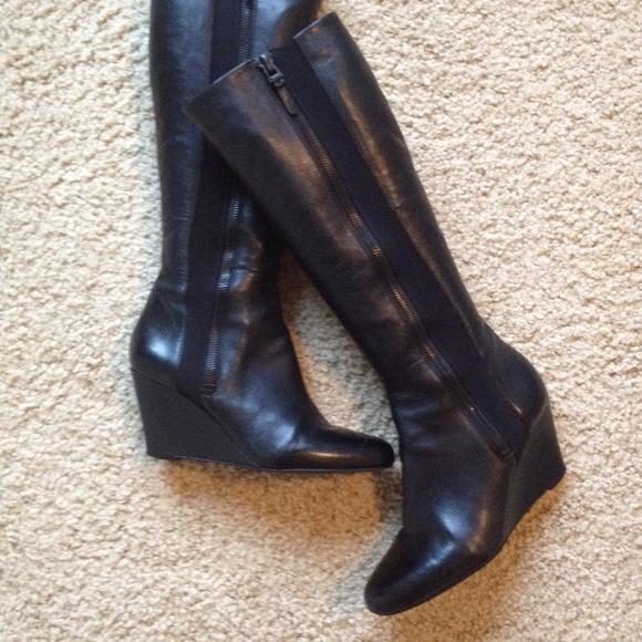 Spiga shoes via spiga felipa wedge heel boots w suede accent VLABZHS