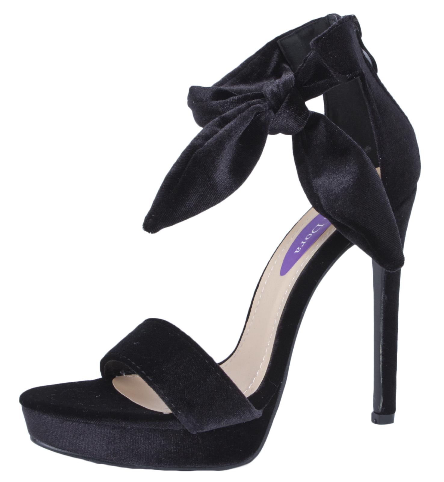 Stilettos shoes womens-velvet-high-heel-sandals-bow-ankle-wrap- IPAWOMF