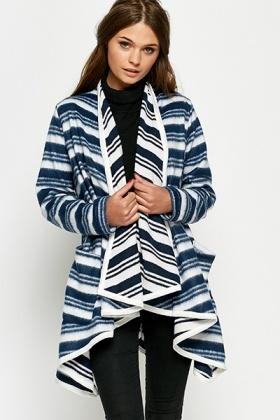 striped oversized waterfall blanket cardigan TMSQXDM