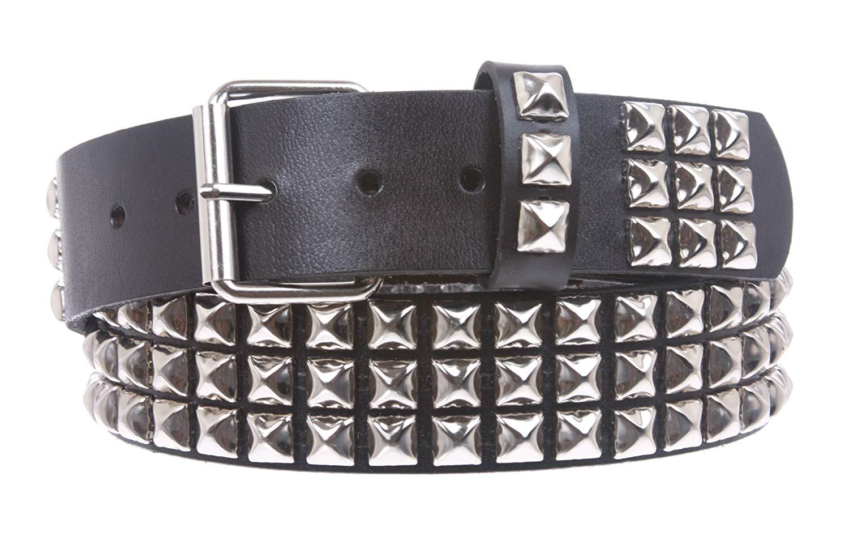 studded belt beltiscool menu0027s snap on metal full grain leather belt: amazon.co.uk:  clothing QVUBIIQ