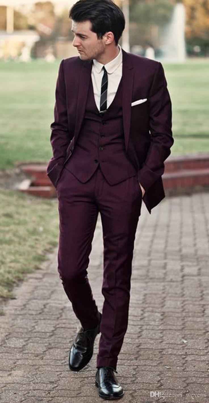 Suits for men handsome burgundy wedding tuxedos slim fit suits for men cheap jacket vest  and pants KJMQNPG