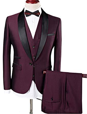 Suits for men lilis men suit wedding suits for men shawl collar 3 pieces slim fit  burgundy QIXCGGE