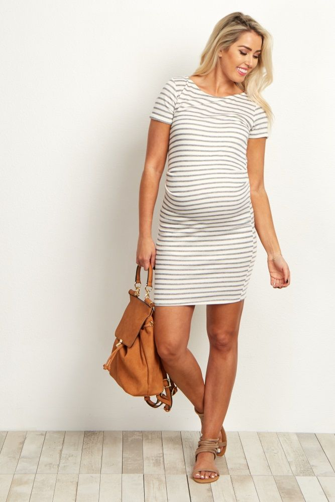 summer maternity clothes ivory-grey-striped-fitted-short-sleeve-maternity-dress KWTLNNX