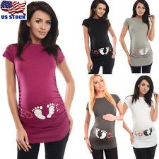 summer maternity clothes summer maternity footprint print t-shirt funny gift pregnant women top  pregnancy FVISHUW