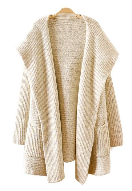 sweater cardigan apricot hooded long sleeve pockets cardigan sweater -shein(sheinside) FCWJZPZ