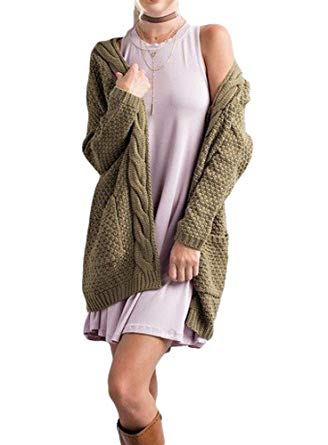 sweater cardigan bigyonger womenu0027s long sleeve casual open front knit cardigan sweater  outwear,army green,small IOXWEEM