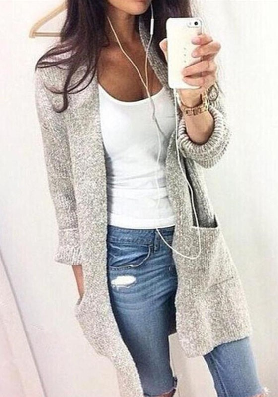 sweater cardigan grey plain pockets round neck long sleeve casual cardigan sweater AFYZKPX