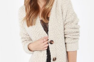 sweater cardigan knit back and relax hooded beige cardigan sweater RZJMWHM