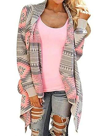sweater cardigan myobe womenu0027s aztec print drape open front drape boyfriend cardigan sweaters,  small, pink red ATMOOJD