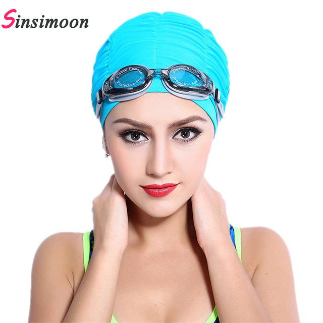 Swimming hats 2018 new summer women sports swim hat fold swimming cap quick dry swimming  hats WSYCBPO