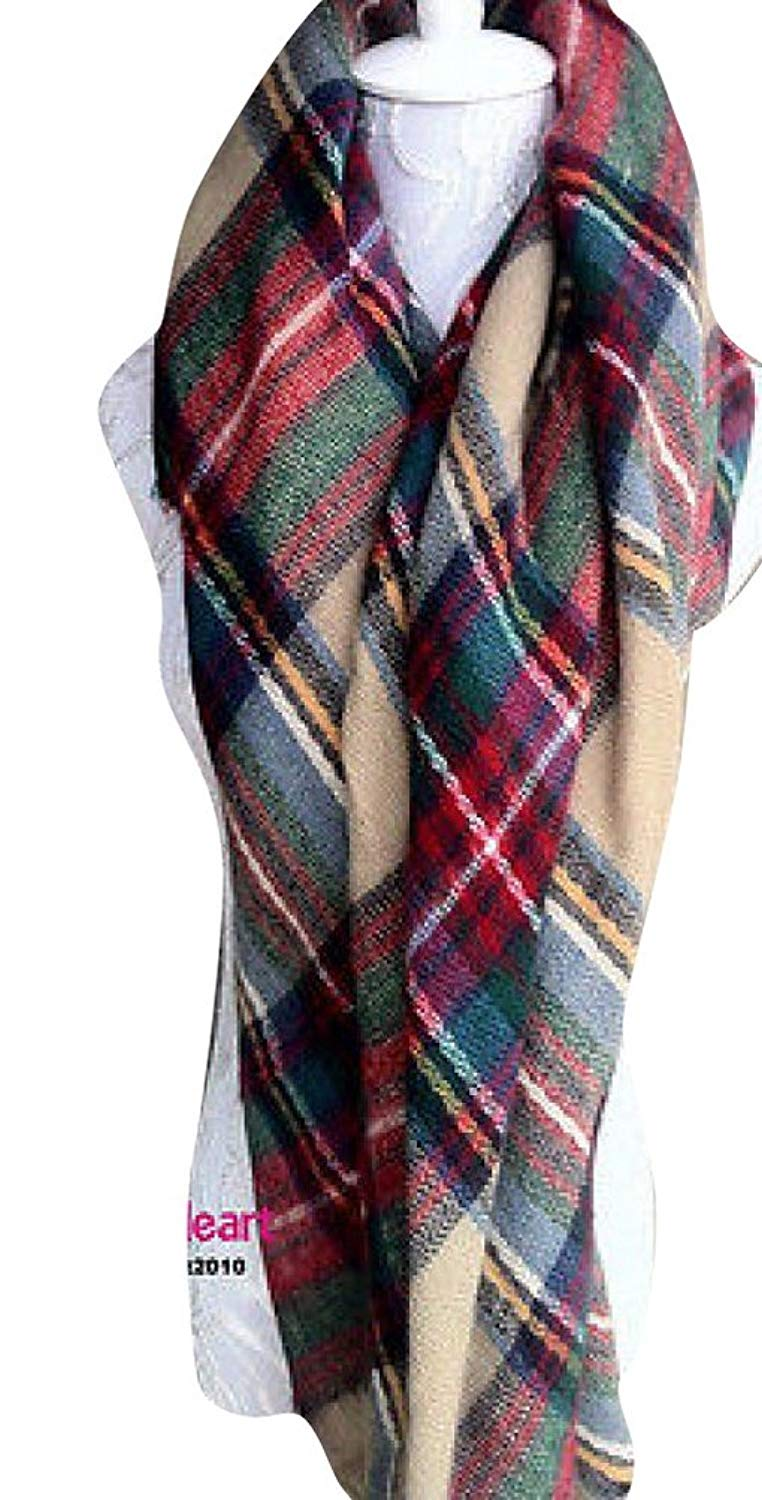 Tartan Scarves fengbay lady large tartan scarf shawl stole plaid checked pashmina camel  green at amazon OEBZEUN