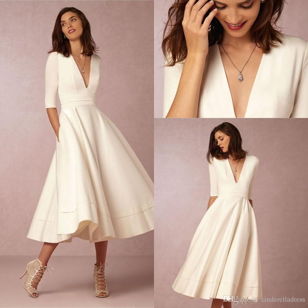 tea length wedding dresses 2017 bhldn new tea-length vintage wedding dresses with half sleeves v-neck  custom make short NVYPBUM