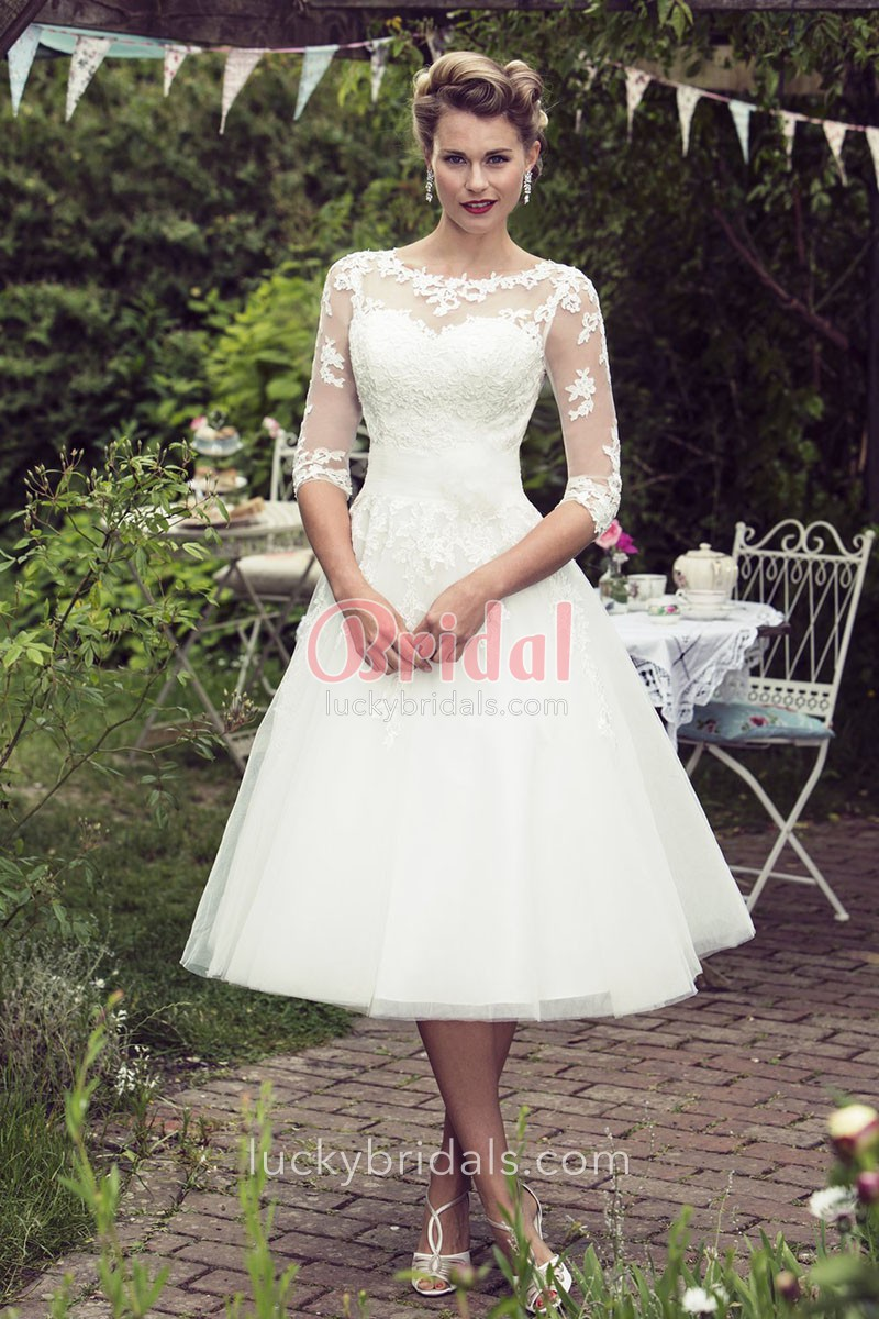 tea length wedding dresses ivory rustic lace and tulle tea length illusion elbow length sleeve wedding  dress 1 CHKWSGI