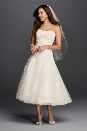 tea length wedding dresses short a-line formal wedding dress - oleg cassini JEZMOJU