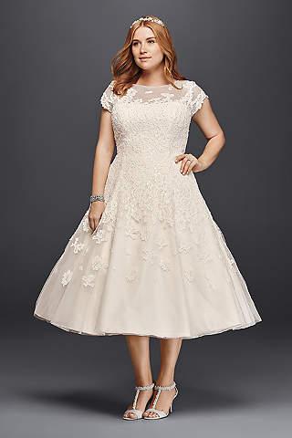 tea length wedding dresses short ballgown vintage wedding dress - oleg cassini WNNTELQ
