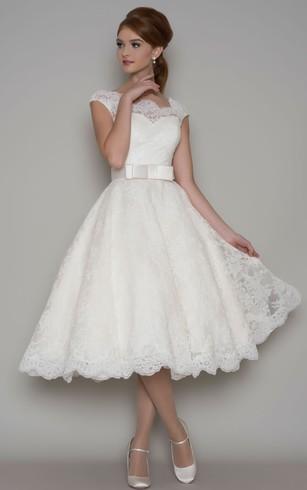 tea length wedding dresses tea-length a-line cap sleeve square neck ribboned lace wedding dress ... SSVAAEA