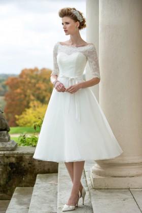 tea length wedding dresses tea length a line elegant bateau neck elbow length sleeve wedding dress 1 CKNERXO