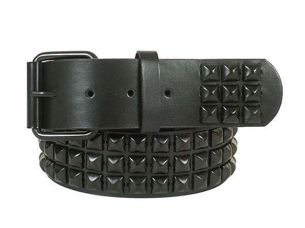 three row punk rock star black studded belt BEADIOI