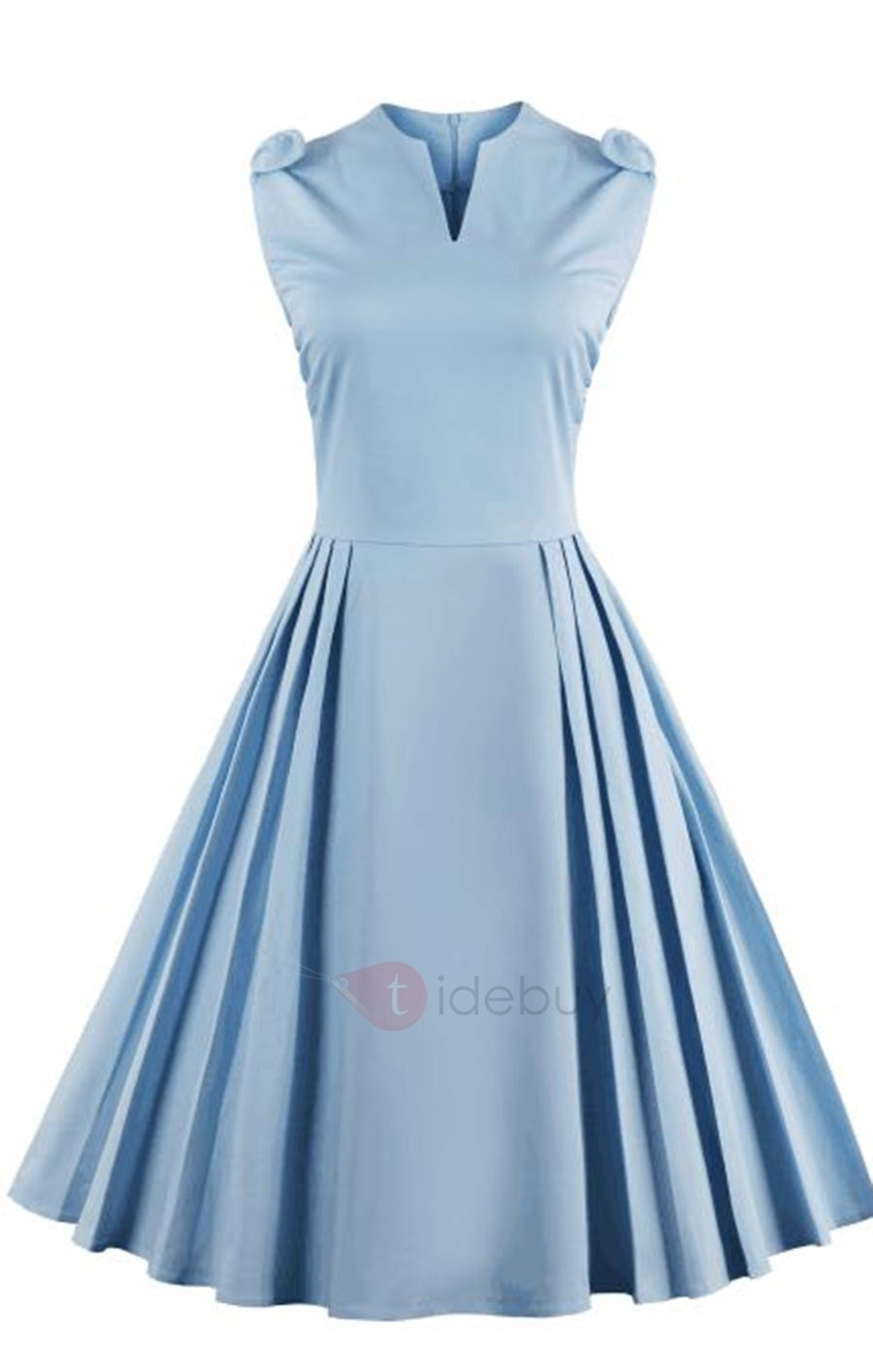 tidebuy light blue ruffled womenu0027s vintage dress : tidebuy.com YGZSLIR