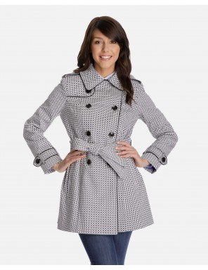 trench coats for women annora double-breasted short trench coat in geometric pattern with gun flap  and removable hood QWBXTZW