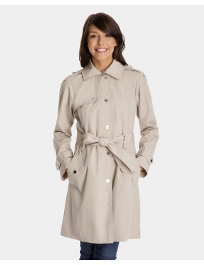 trench coats for women megan single-breasted trench coat with gun flap and removable hood YAQFMVX
