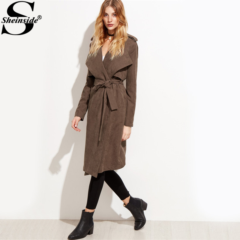 trench coats for women sheinside brown suede layered wrap trench coat women ... FJKHGXM