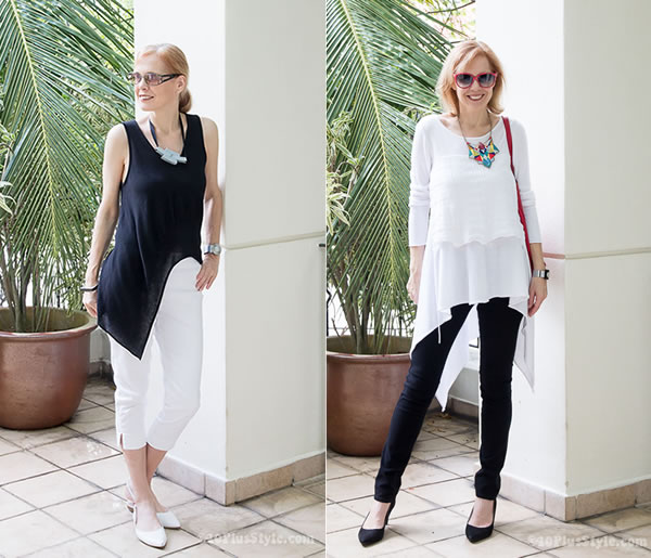 tunics to wear with leggings how to wear asymmetrical tops over 40 | 40plusstyle.com RFEYUVB