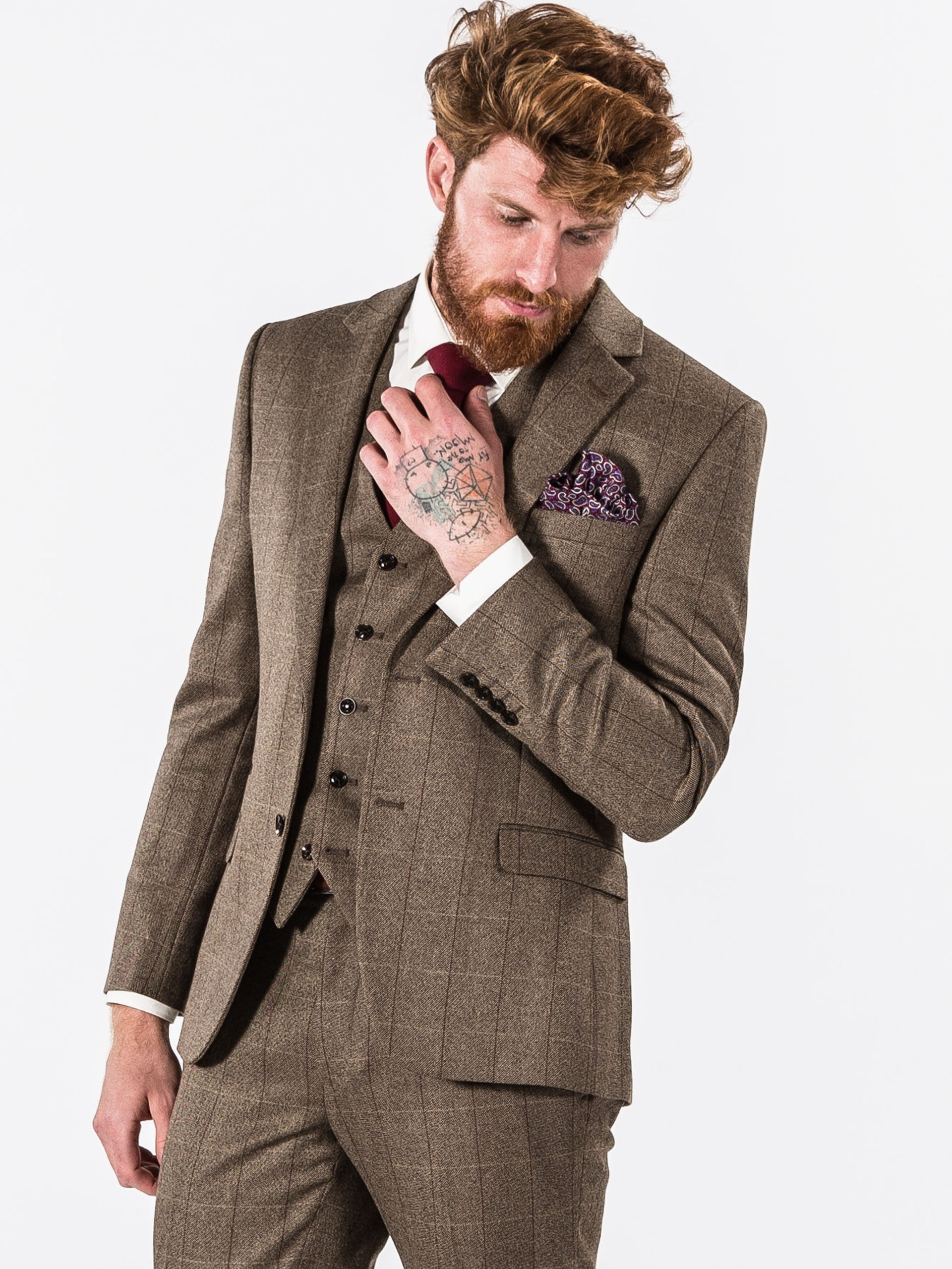 Tweed Suits fellini tailored brown check tailored fit three piece tweed suit MBQALTI