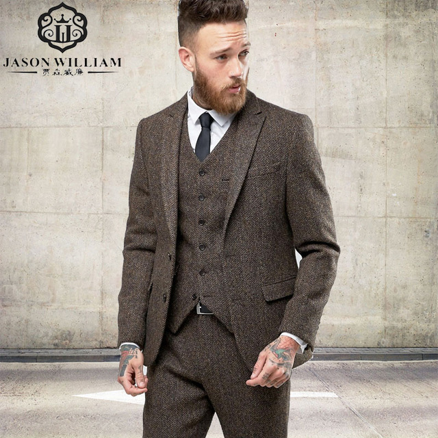 Tweed Suits ln021 custom tweed blazer men wool herringbone british style custom made  mens suit slim YDSBUQO