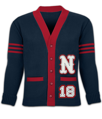 Varsity Sweater school sweater with both sleeve stripes NHRXIWN