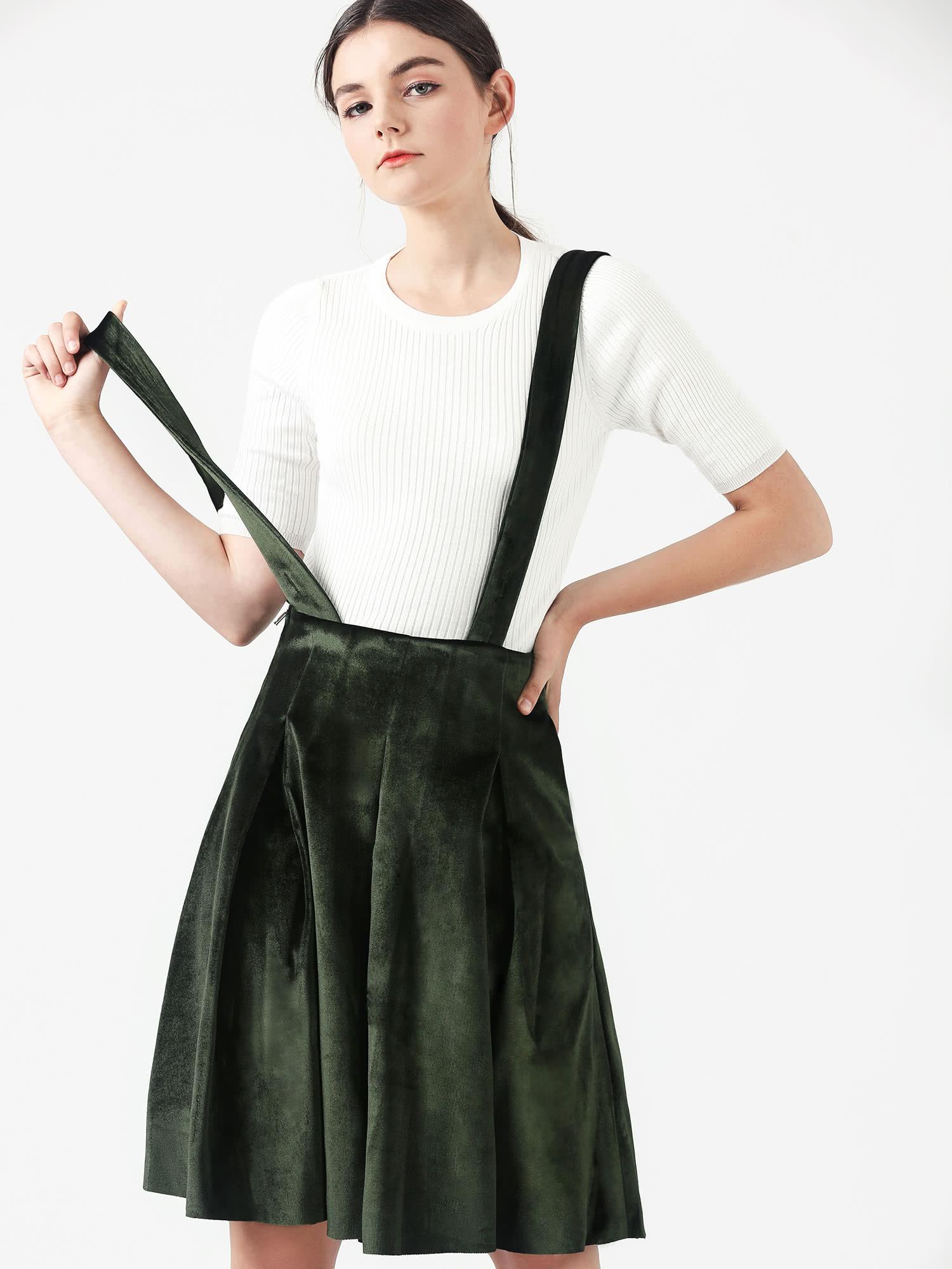 velvet jumper dress - green, large HXQRIAM