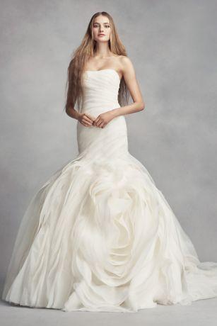 Vera Wang wedding dress white by vera wang wedding dress with rosettes | davidu0027s bridal OQMTKCY