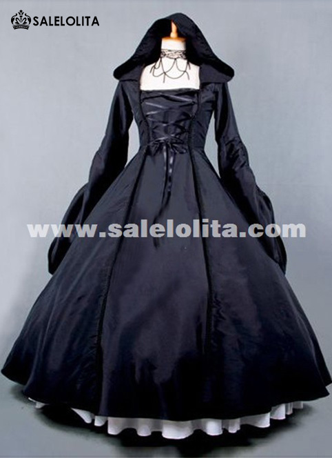 Victorian dresses 2015 new black retro long sleeve gothic victorian dress halloween party  dress UWCFDEF