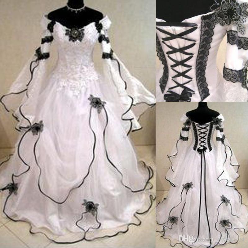 Victorian dresses discount vintage 2016 black and white lace organza off shoulder victorian  wedding dresses cheap NIIIZQS
