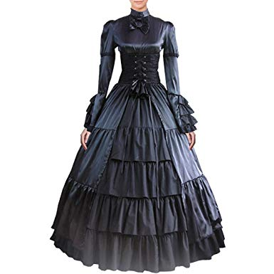 Victorian dresses fancy dress store partiss women bowknot stand collar gothic victorian dress  costumes xs,black QYYSVJD