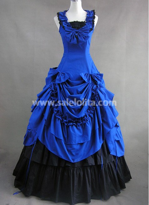Victorian dresses jewelry blue and black gothic cotton victorian dress NMNLRCK