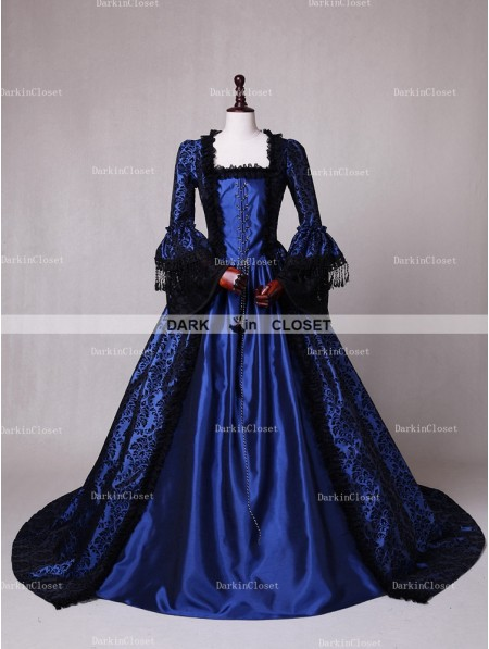 Victorian dresses rose blooming blue ball gown victorian costume dress GZFNACL