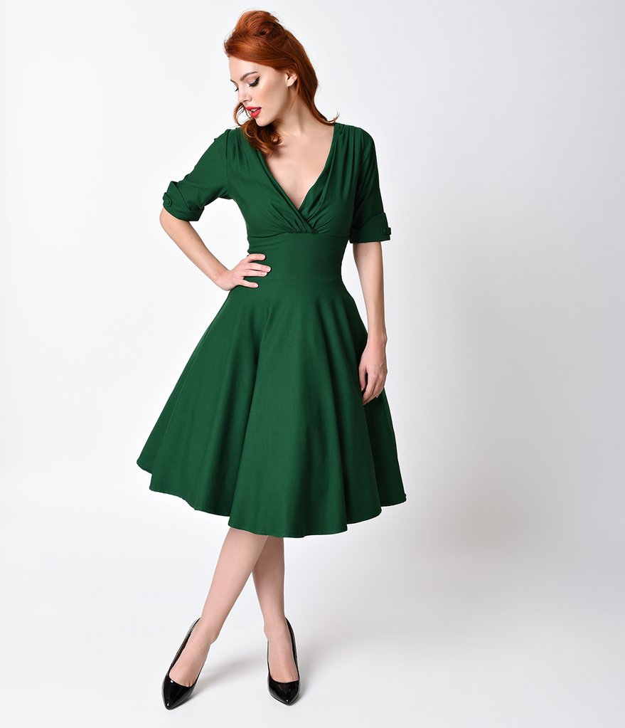 vintage dress unique vintage 1950s emerald green delores swing dress with sleeves AUYCKAB