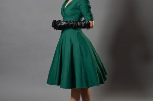 vintage dress unique vintage 1950s emerald green delores swing dress with sleeves RSIZAFY