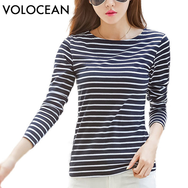 volocean famous brand tshirt 2018 autumn winter t-shirts for women classic  stirped cotton t MOZHIWB