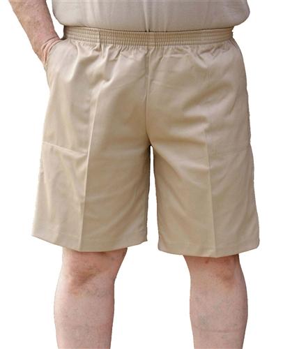 Walking shorts menu0027s full elastic waist twill walking shorts - no zip, button or loops EJOFQVT