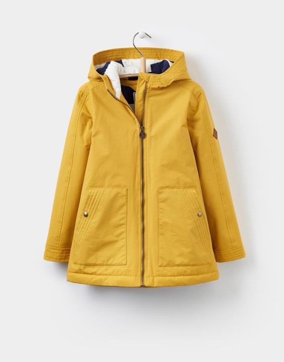 waterproof coats joules uk waterfall oldergirls waterproof jacket 3-12yr antique gold ZBMBJPV