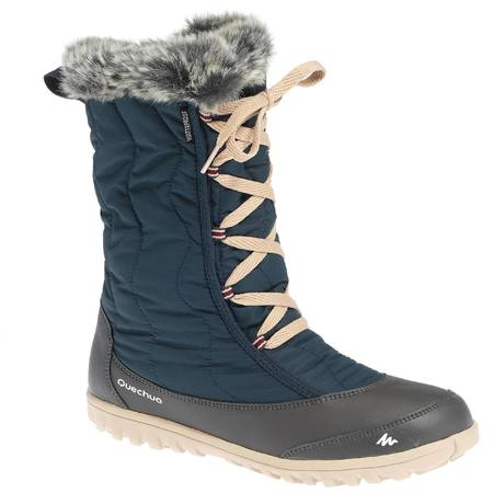 waterproof walking boots sh500 x-warm blue snow boots with laces | quechua XLEJNUR