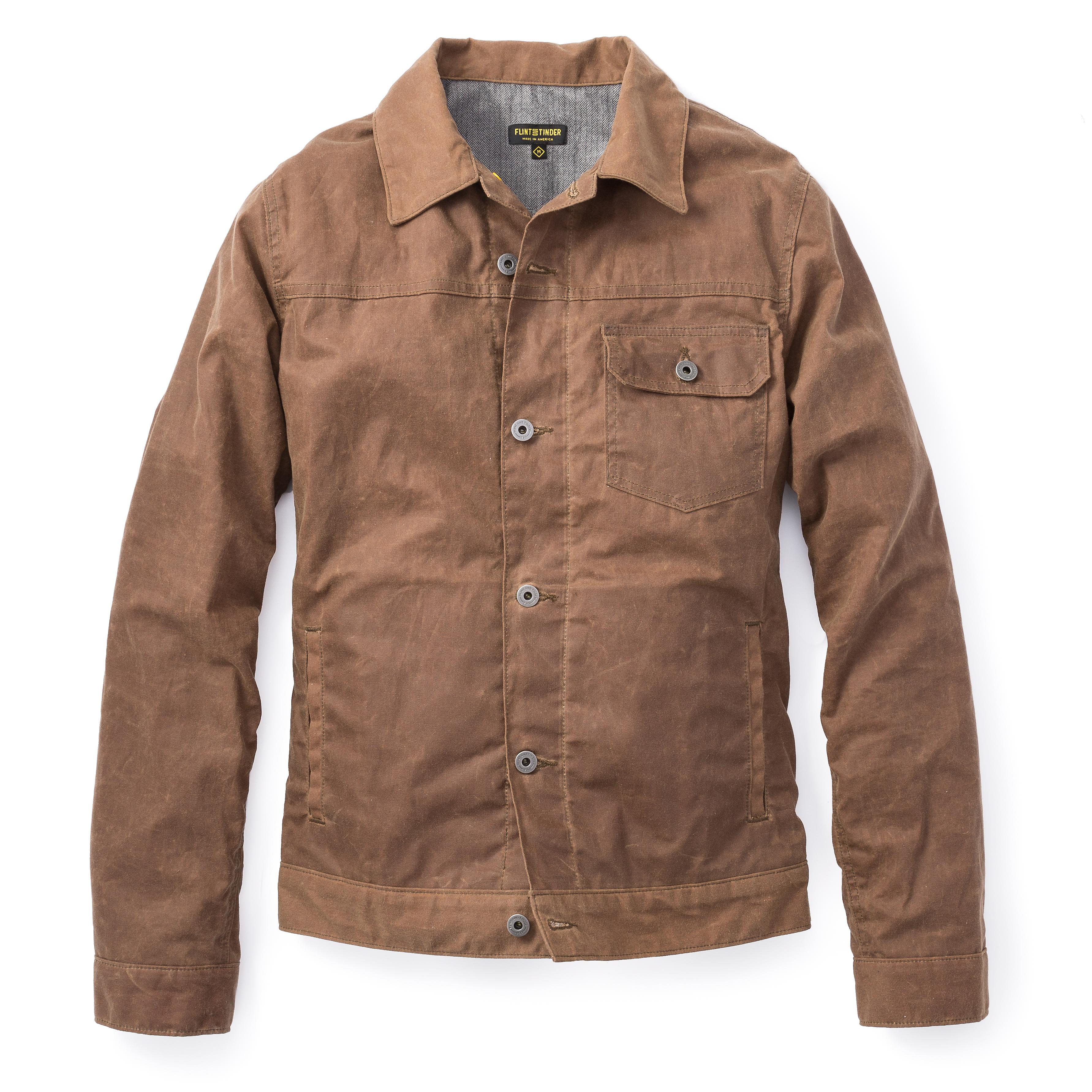 Waxed Jackets 4eukjp4nkz flint and tinder flannel lined waxed trucker jacket waxed jackets  0 original AZJCXIR