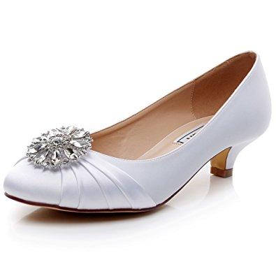 wedding shoes low heel amazon.com | luxveer kitten heel satin wedding shoes sexy women shoes with  rhinestone low WRRHNWH